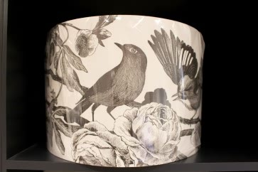 Garden Birds Lampshade in Dark Grey