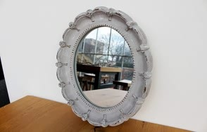 Greta Blue Grey Oval Mirror