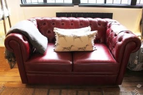 Burgundy Leather 1 1/2 Seat Chesterfield Sofa