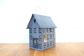 Zinc tea light candle house