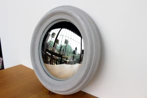 Convex Mirror Round in Antique Grey