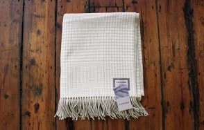 Foxford cream and taupe check blanket