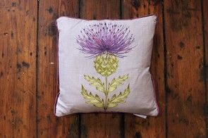 Harris velvet damson cushion
