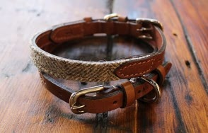 Herringbone tweed dog collar