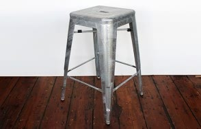 Phobos raw clear silver steel high stool