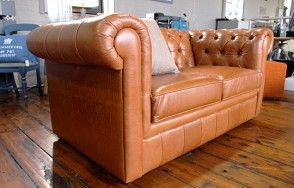 Tan Leather 1 1/2 Seat Chesterfield Sofa