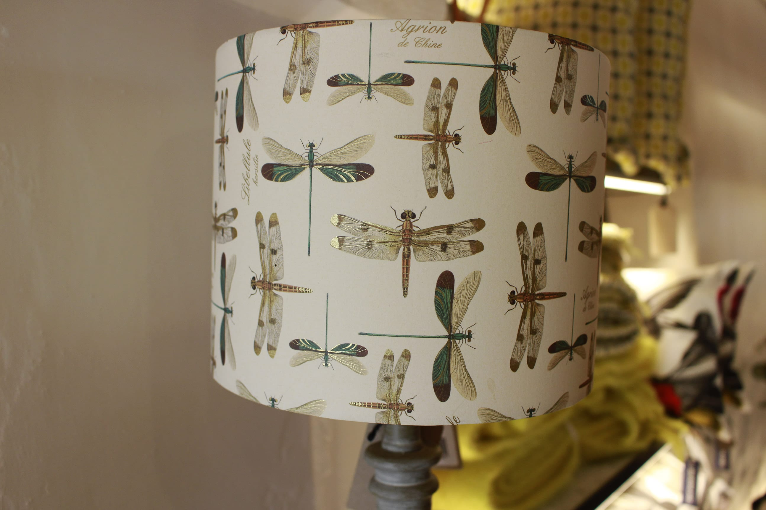 dragon fly, lamp shade, lamp stand