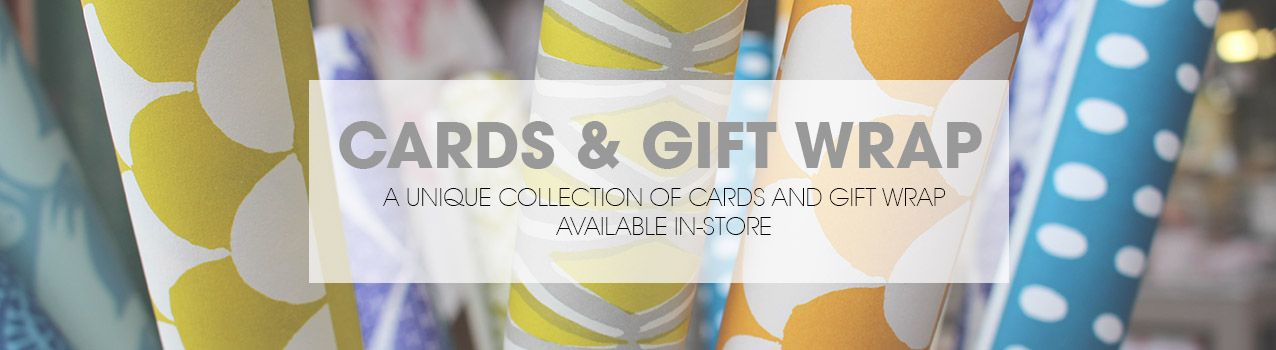 Cards and gift wrap available to buy in store