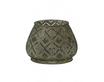 Fret Tealight Holder - Antique Green