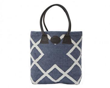 Geometric Woven Bag in Blue