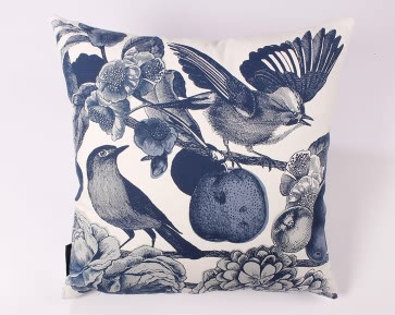 Garden Birds Cushion in Ink Blue