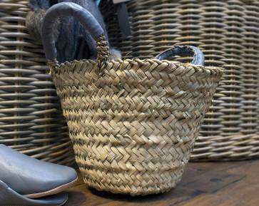 Leather Handled Basket - GREY