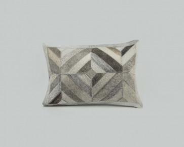 Geometric Stitched Hide Cushion