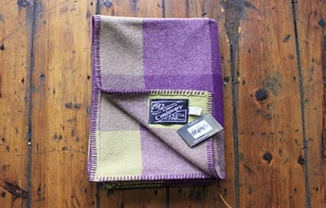Multi check aubergine throw