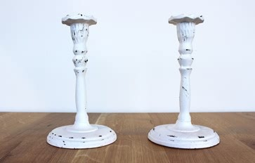 Nero white Iron candlestick 200mm