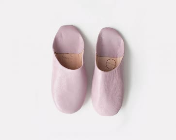 Leather Babouche Slippers - PINK