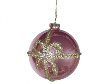 Shiny Pink Bow Bauble