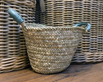 Leather Handled Basket - SAGE