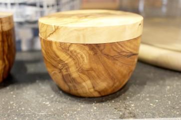 Olivewood Salt Pot with Lid