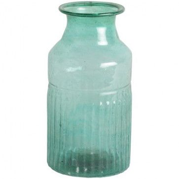 Teal Colour Recycled Glass Vase