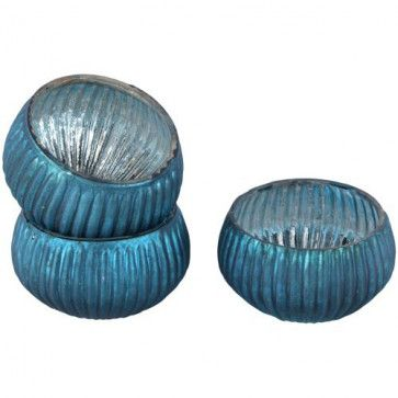 Teal Jewel Ribbed Tealight Holder