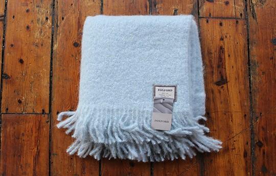 Foxford Pale Blue Mohair Blanket WARINGS Store Custom Mohair Throw Blankets
