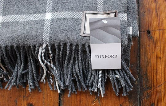 Foxford White On Grey Large Check Throw Warings Store