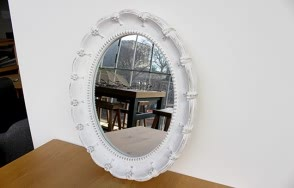 Greta Antique White Oval Mirror