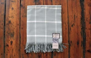 Foxford aqua on grey throw