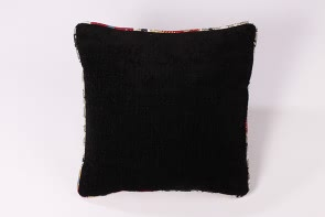 Black Cushion with Linen Printed Trim
