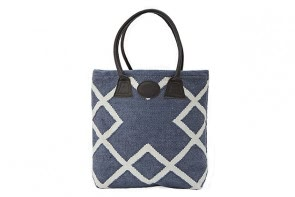 Geometric Woven Bag in Blue