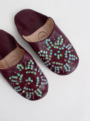 Leather Babouche Slippers - Pomegranate Sequin