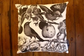 Garden Birds Cushion in Dark Grey