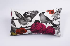 "Garden Birds Cushion in Brights-13""x21"""