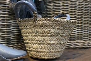Leather Handled Basket - GREY