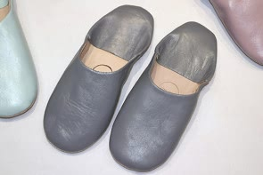 Leather Babouche Slippers - GREY