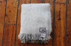 Foxford grey and white fleck mohair throw