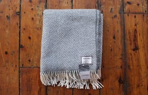Foxford grey herringbone throw