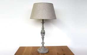 Grey metal lamp with shade set