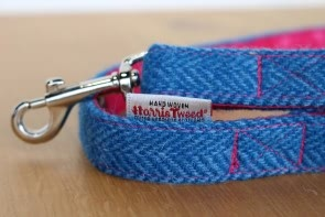 Harris Tweed Dog Lead in Pink