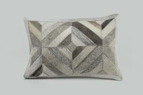 Geometric Stitched Hide Cushion