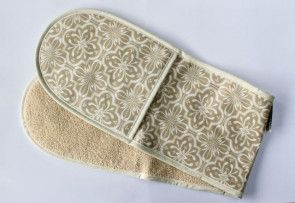 Double Oven Glove - Taupe Tile
