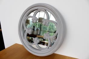Inlay Mirror Round in Antique Grey