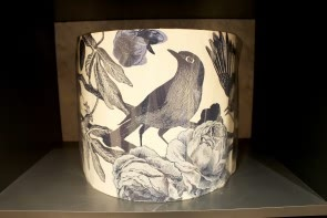 Garden Birds Lampshade in Ink Blue