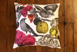 Garden Birds Cushion in Brights