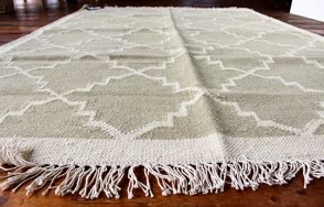 Lattice Rug in Green/Cream