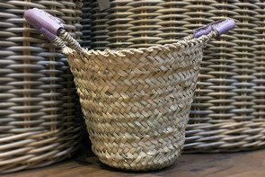 Leather Handled Basket - LILAC