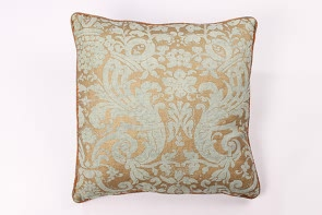 Green and Gold Linen Cushion
