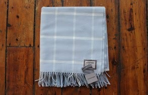 Foxford pale blue and white check blanket