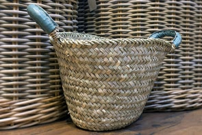 Leather Handled Basket - SAGE